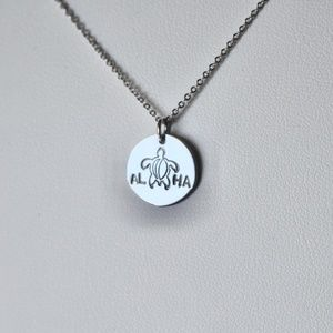 Sterling silver ALOHA turtle charm necklace
